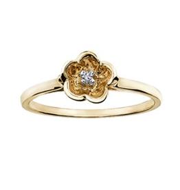 10K Yellow Gold (0.01ct) Diamond Flower Ring