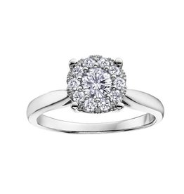 10K White Gold (0.13ct) Starburst Cluster Diamond Ring