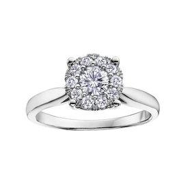 14K White Gold (0.25ct) Starburst Cluster Diamond Engagement Ring