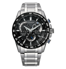 Citizen Citizen Perpetual Chrono A-T Men's Eco Drive Silver Tone Super Titanium Watch