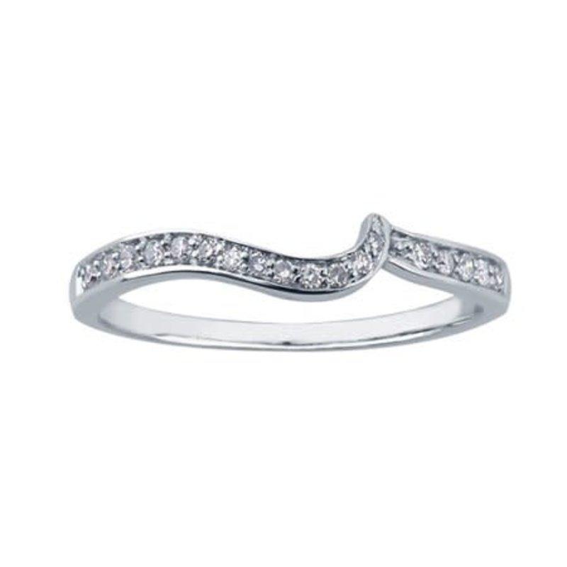 10K (White, Rose, Yellow Gold) (0.11ct) Diamond Matching Wedding Band