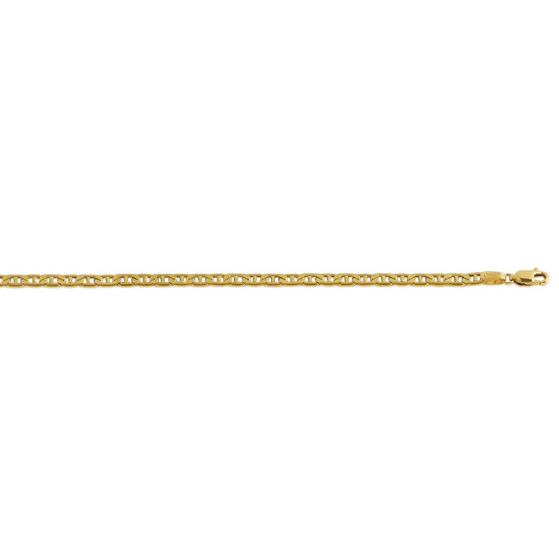 10K Yellow Gold (3.8mm) Hollow Marine Anchor Link Bracelet 8.5""