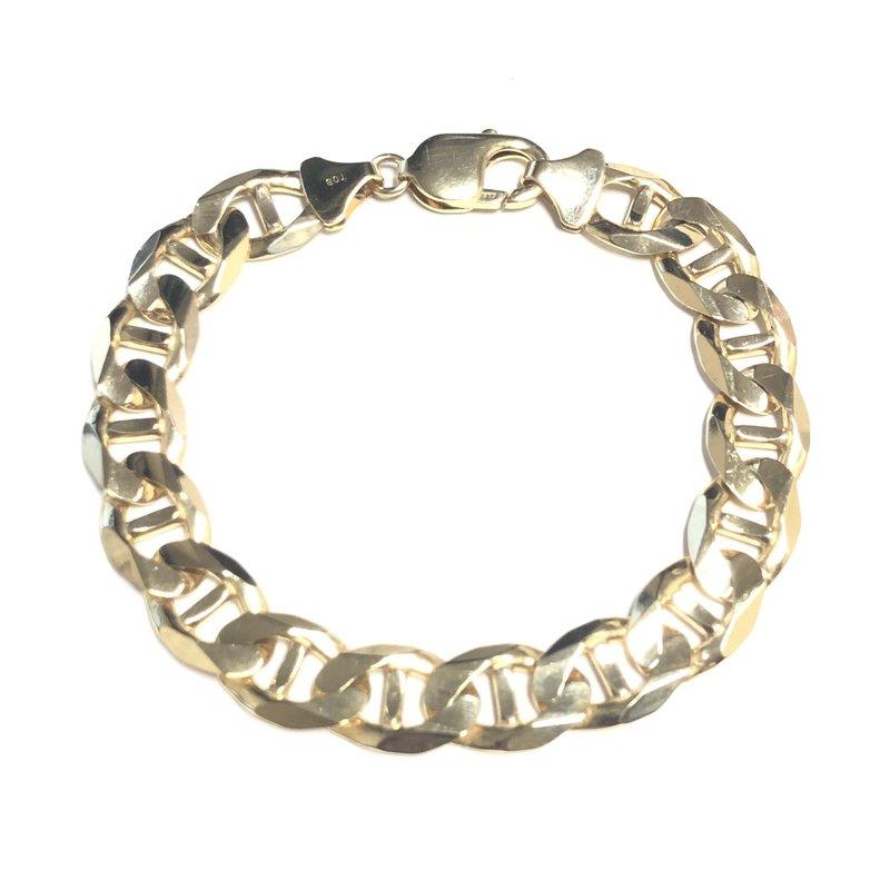 "10K Yellow Gold (11mm) Anchor Marine Link Bracelet 8.5"""