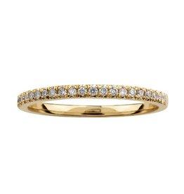Crown Ring Yellow Gold (0.15ct) Diamond (10K, 14K) Pavee Band