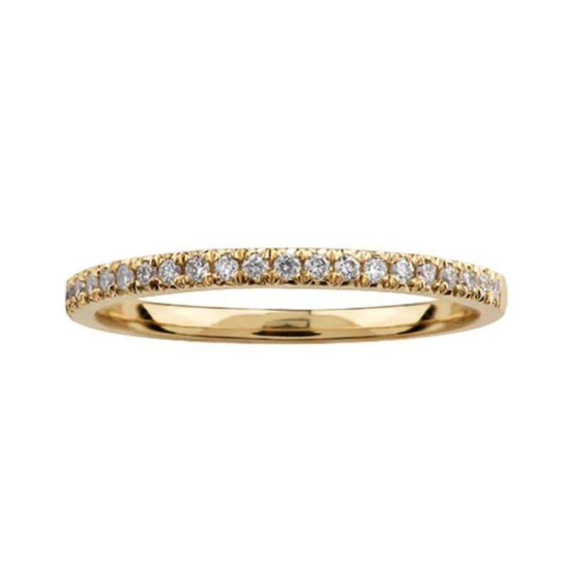 Crown Ring (10K, 14K) Yellow Gold (0.15ct) Pavee Diamond Stackable Wedding Band