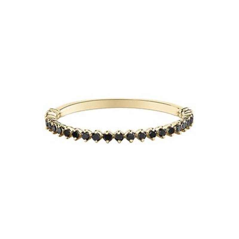10K Yellow Gold Black Diamond (0.15ct) Stackable Ring