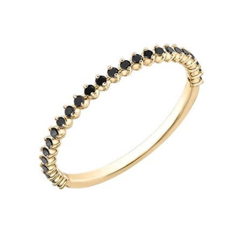 10K Yellow Gold (0.15ct) Black Diamond Stackable Wedding Band