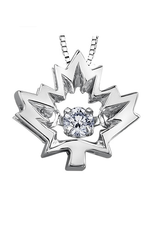 10K White Gold Maple Leaf Canadian Dancing Diamond Pendant (0.04ct , 0.14ct)