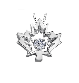 I am Canadian 10K White Gold (0.04ct , 0.14ct) Canadian Dancing Diamond Maple Leaf Pendant