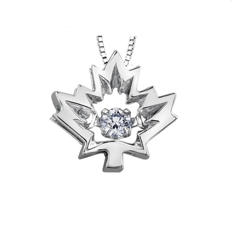 10K White Gold (0.04ct , 0.14ct) Canadian Dancing Diamond Maple Leaf Pendant