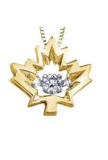 10K Yellow Gold Maple Leaf Canadian Dancing Diamond Pendant (0.04ct , 0.14ct)