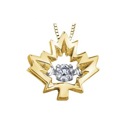 10K Yellow Gold Maple Leaf Canadian Dancing Diamond Pendant (0.04ct , 0.14ct)