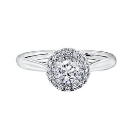 I am Canadian 14K White Gold (0.58ct) Canadian Diamond Double Halo Ring