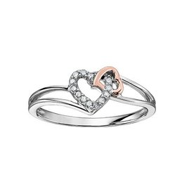 10K Rose and White Gold Double Heart Diamond Ring