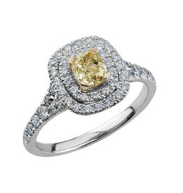 18K White Gold (1.00ct) Yellow Diamond Double Halo Ring