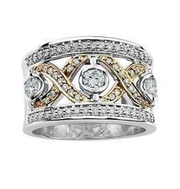 Maple Leaf Diamonds 14K White and Yellow Gold (0.70ct) Canadian Diamond Right Hand Ring