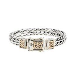 Keith Jack Keith Jack Dragon Weave Two Tone Sterling Silver and 10K Yellow Gold Bracelet