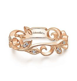 Gabriel & Co Gabriel & Co 14K Rose Gold Scrolling Floral Diamond Ring