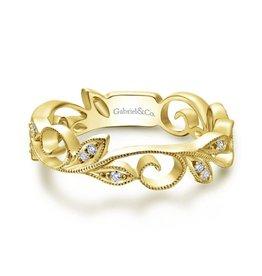 Gabriel & Co Gabriel & Co 14K Yellow Gold Scrolling Floral Diamond Ring
