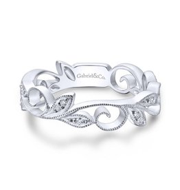 Gabriel & Co Gabriel & Co 14K White Gold Scrolling Floral Diamond Ring