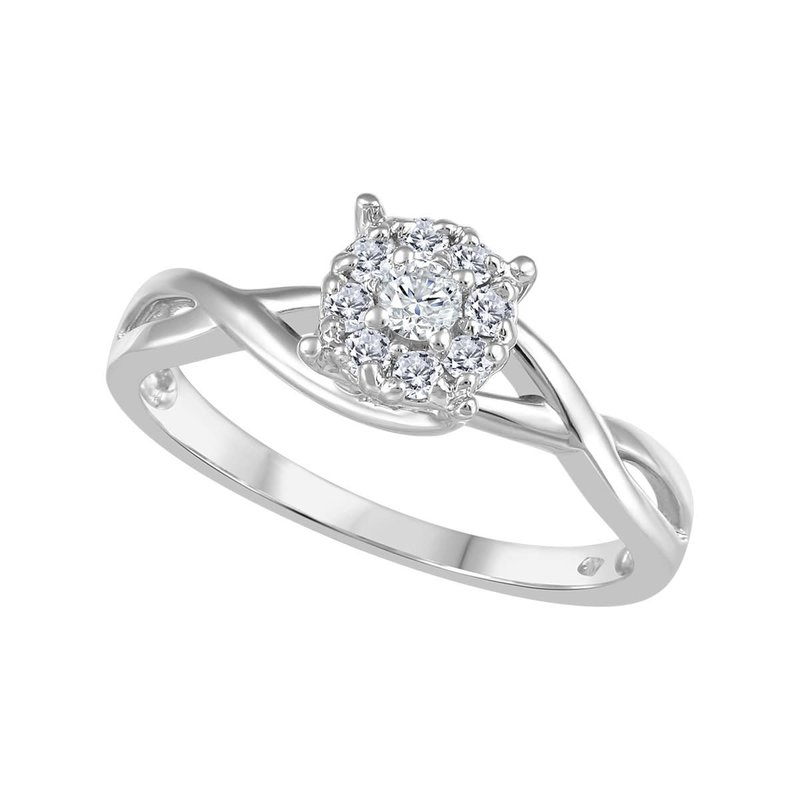 14K White Gold (0.20ct) Canadian Diamond Cluster Ring