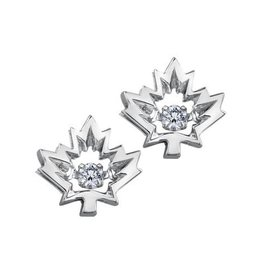 I am Canadian 10K White Gold (0.08ct) Canadian Dancing Diamond Maple Leaf Stud Earrings