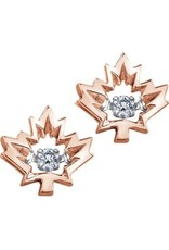 I am Canadian 10K Rose Gold (0.08ct) Maple Leaf Dancing Canadian Diamond Earrings