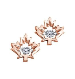 I am Canadian 10K Rose Gold (0.08ct) Canadian Dancing Diamond Maple Leaf Stud Earrings