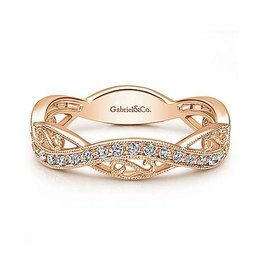 Gabriel & Co Gabriel & Co 14K Rose Gold Twisted Diamond Ring with Scrollwork Accent