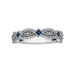 White Gold (0.15ct) Sapphire and Diamond Stackable Band