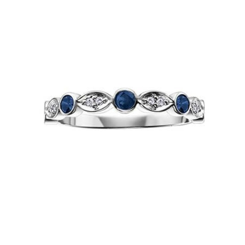 10K White Gold (0.04ct) Diamond and Sapphire Stackable Band