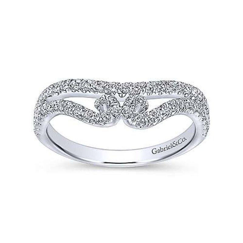 Gabriel & Co Gabriel & Co 14K White Gold French Pavé Curved Diamond Wedding Band