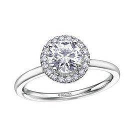 Maple Leaf Diamonds 18K White Gold (0.58ct) Halo Canadian Diamond Engagement Ring