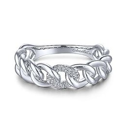 Gabriel & Co Gabriel & Co 14K White Gold Chain Link Ring Band with Pavé Diamond Station