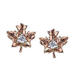 Maple Leaf Diamonds 14K Rose Gold (0.12ct) Canadian Diamond Maple Leaf Stud Earrings
