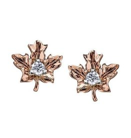 Maple Leaf Diamonds 14K Rose Gold (0.12ct) Maple Leaf Canadian Diamond Earrings