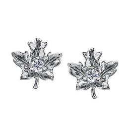 Maple Leaf Diamonds 14K White Gold (0.12ct) Canadian Diamond Maple Leaf Stud Earrings
