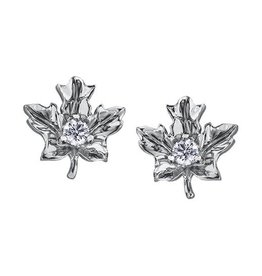 Maple Leaf Diamonds 14K White Gold (0.12ct) Maple Leaf  Canadian Diamond Earrings