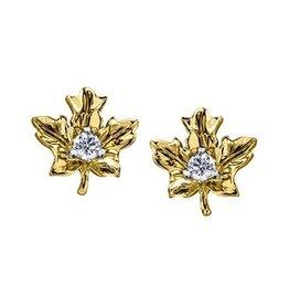 Maple Leaf Diamonds 14K Yellow Gold (0.12ct) Canadian Diamond Maple Leaf Stud Earrings