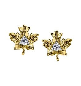 Maple Leaf Diamonds 14K Yellow Gold (0.12ct) Maple Leaf Canadian Diamond Earrings
