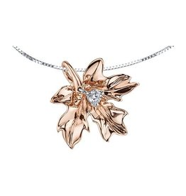 14K Rose Gold (0.08ct) Maple Leaf Canadian Diamond Pendant
