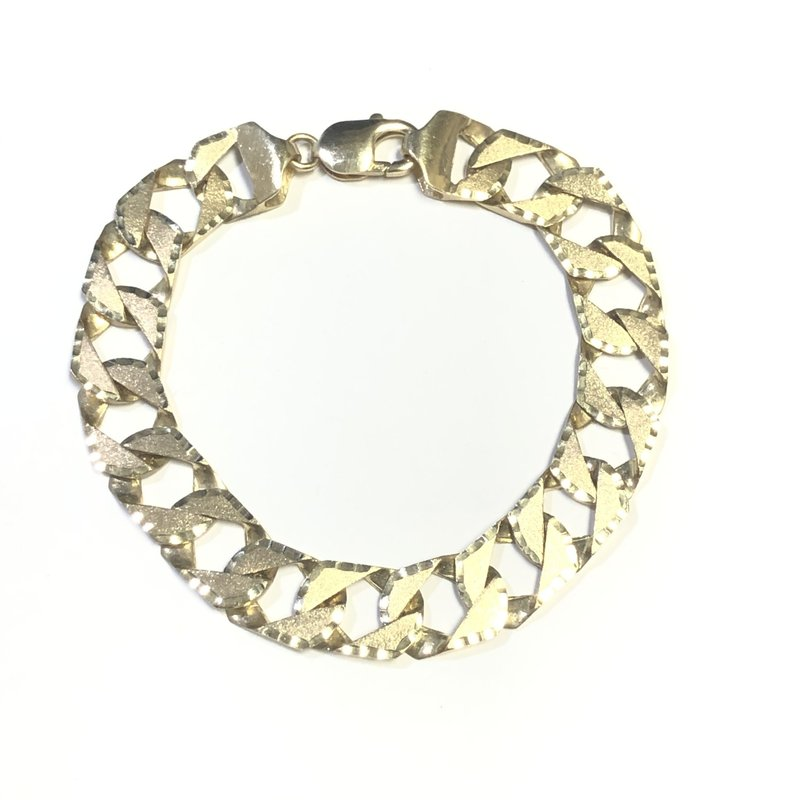 10K Yellow Gold (12.5mm) Hand Made Curb Bracelet 8.75""