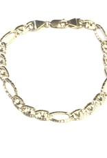 """10K Yellow Gold (6.6mm) Handmade Link Mens Bracelet 8.5"""""""