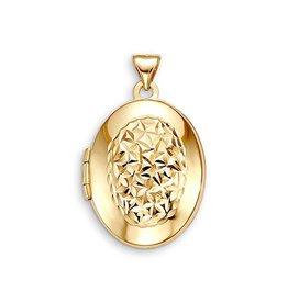 10K Yellow Gold Oval Locket Pendant