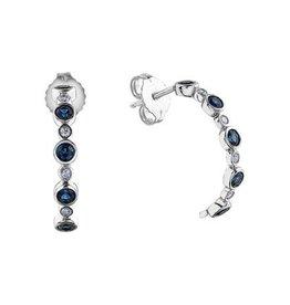 10K White Gold Blue Sapphire Diamond Earrings