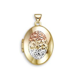 10K Yellow, Rose and White Gold Oval Locket Pendant
