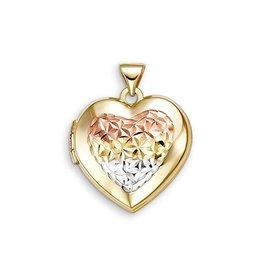 10K Yellow, White and Rose Gold Diamond Cut Heart Locket Pendant