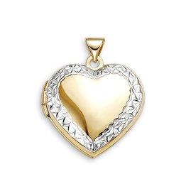 10K Yellow and White Gold Diamond Cut Heart Locket