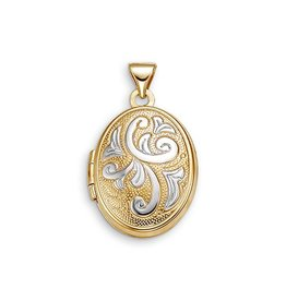 Two Tone 10K Yellow & White Gold Scroll Design Oval Locket