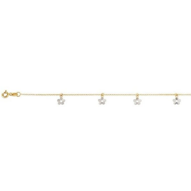 """Two Tone  White and Yellow Gold Dangle Flower Ankle Bracelet 9""""/10"""""""